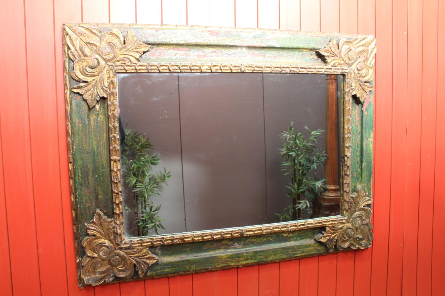 Distressed giltwood and painted wall mirror