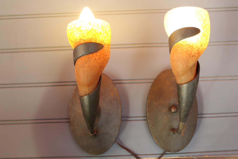 Pair of brass wall lights