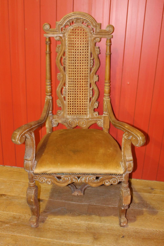 19th C. carved walnut armchair