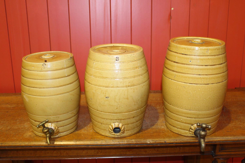 Graduated Set of three 19th C. ceramic glazed dispensers