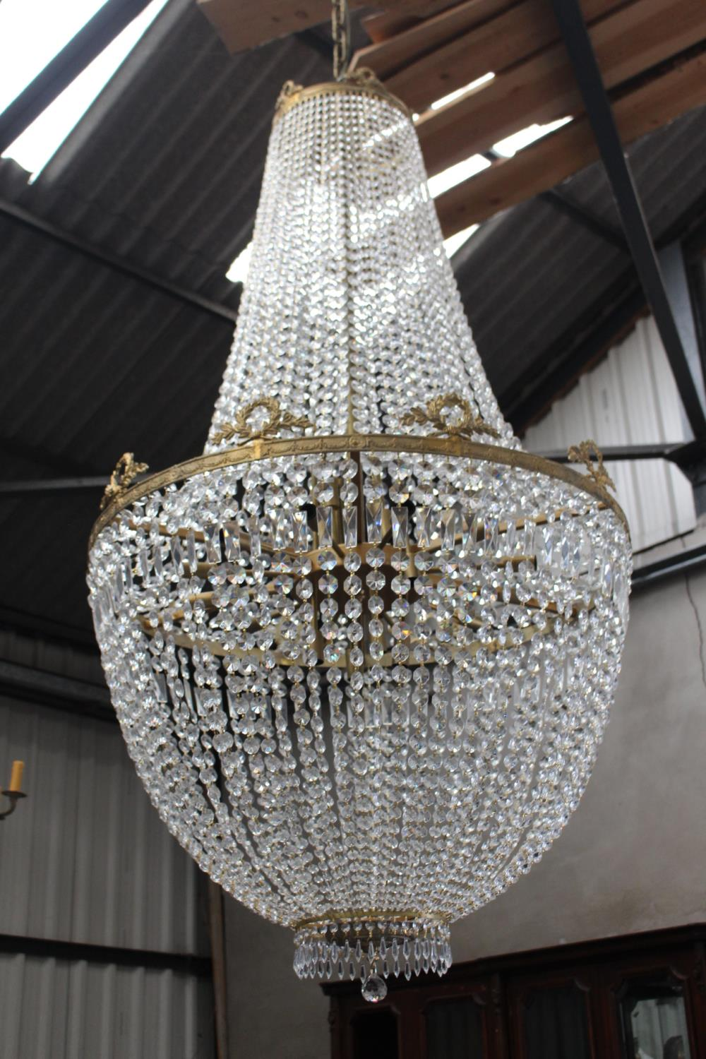 Bronze and glass dome shaped chandelier