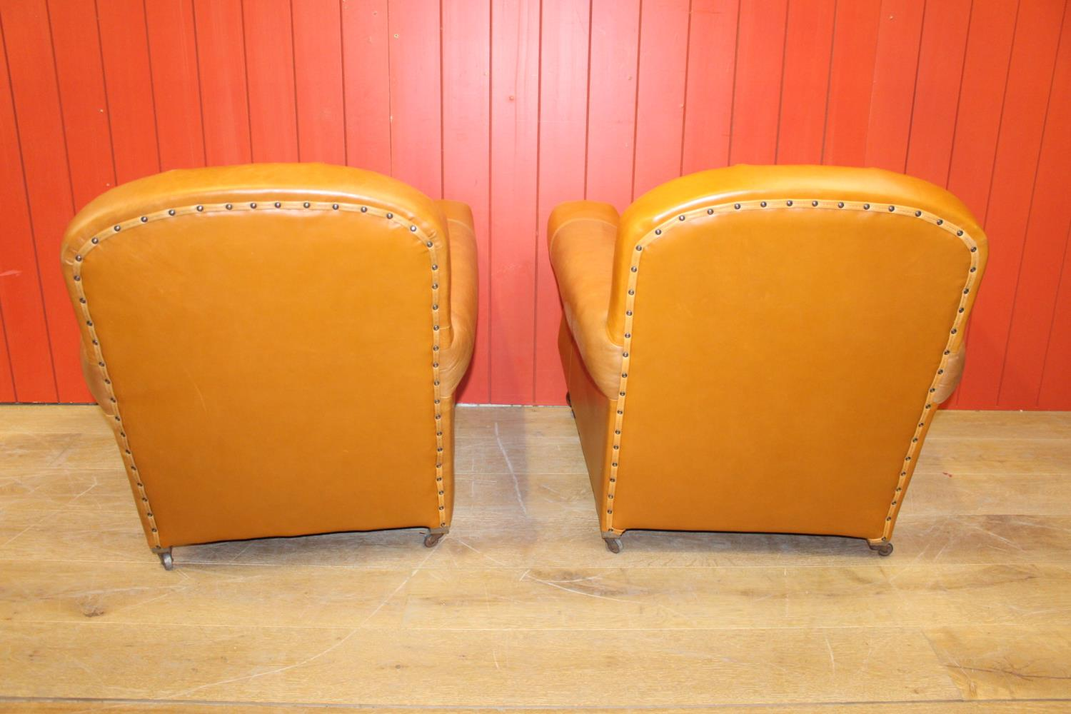 Pair of leather upholstered club chairs. - Image 2 of 2