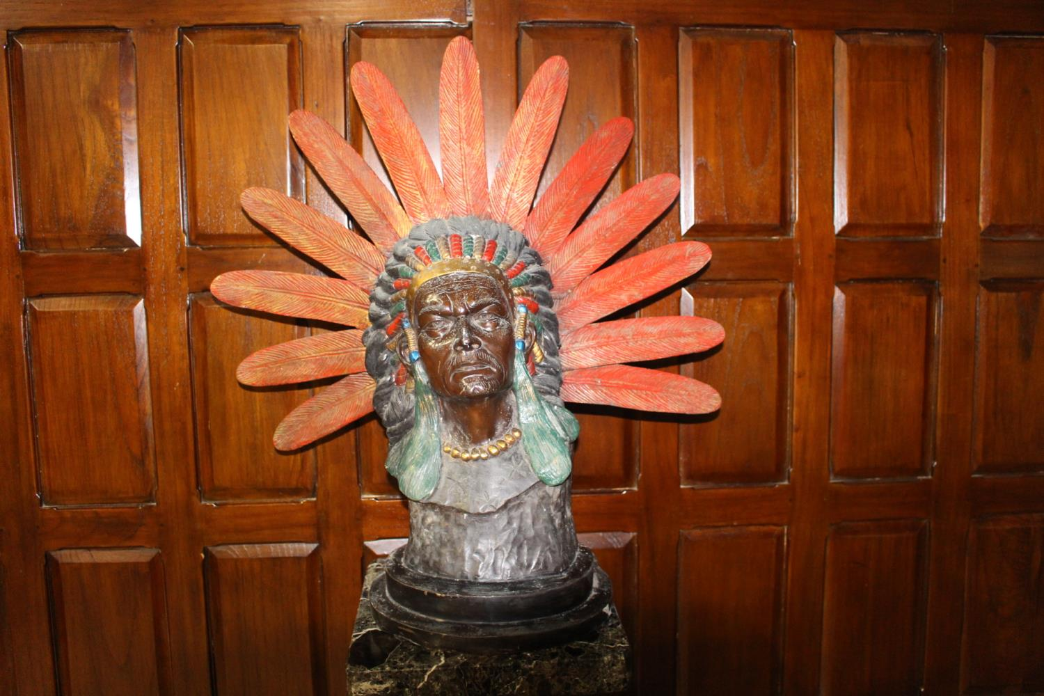 Bronze bust of a Red Indian Chief