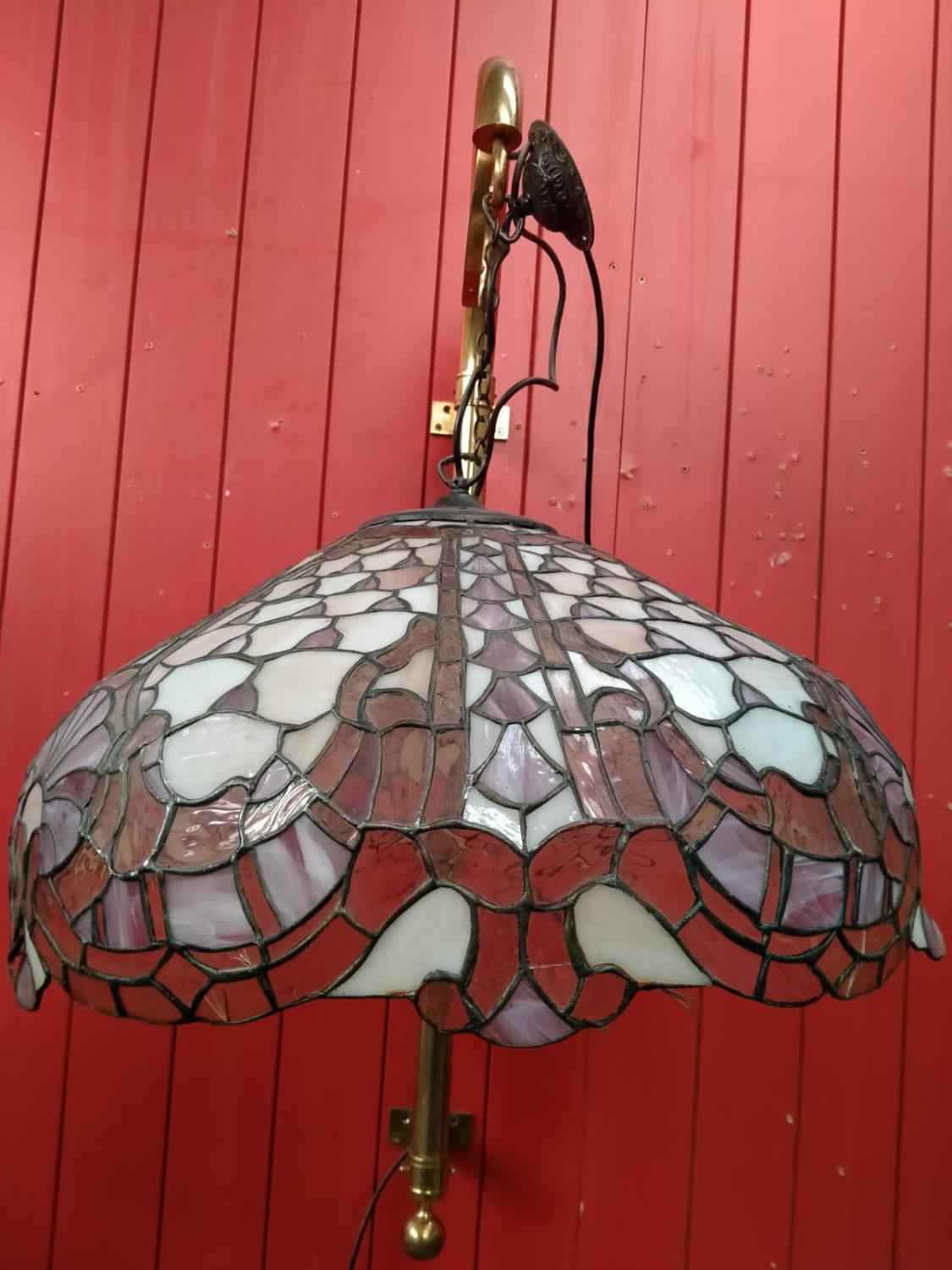 Leaded glass hanging light.
