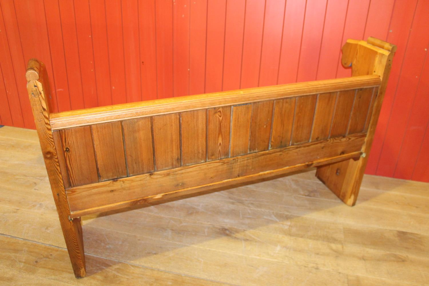 Pitch pine bench - Image 2 of 2
