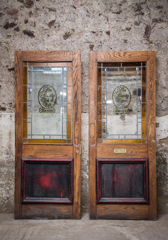 Pair of good quality oak pub doors.