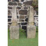 Pair of stone obelisks on base
