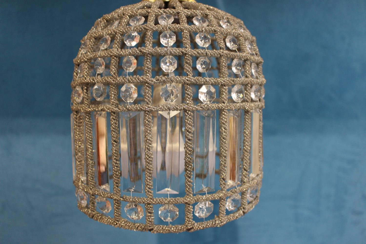 Brass and cut glass hanging ceiling light - Image 2 of 2