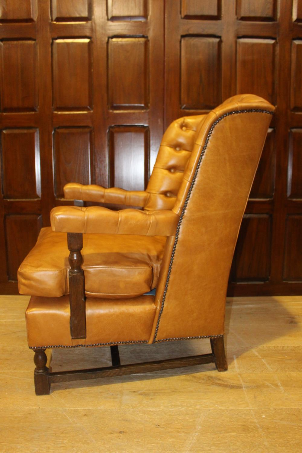 Leather wingback open armchair. - Image 2 of 3