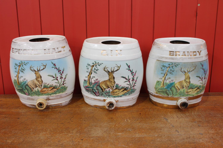 Set of three 19th C. ceramic dispensers