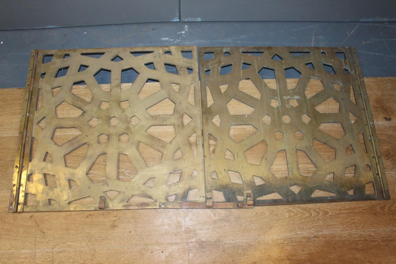 Brass floor/ceiling hinged panels - Image 2 of 2