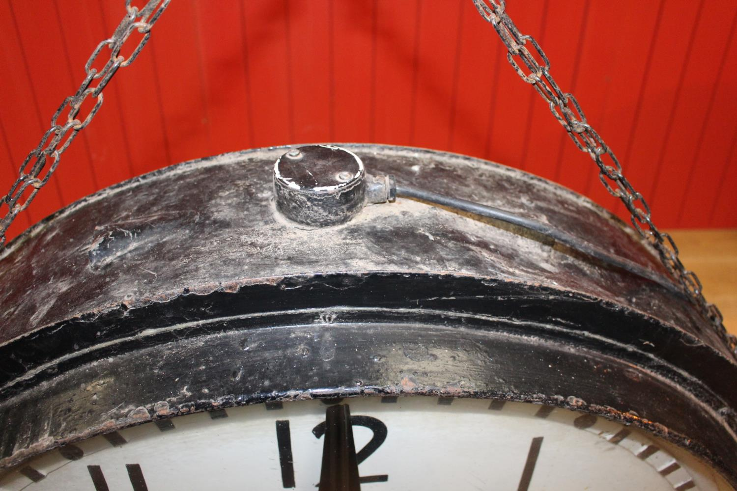 Metal doubled sided Station clock. - Image 2 of 3