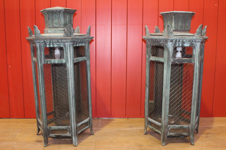 Pair of bronze porch lights