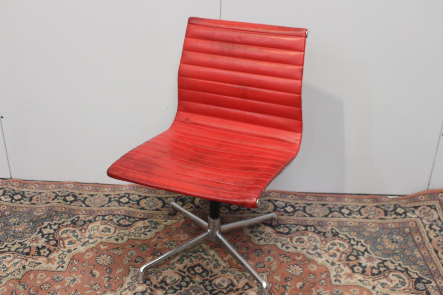 1960's chome and leather swivel office chair