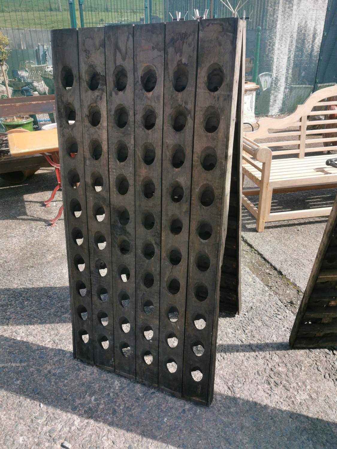 Early 20th C. wooden wine rack. - Image 2 of 2
