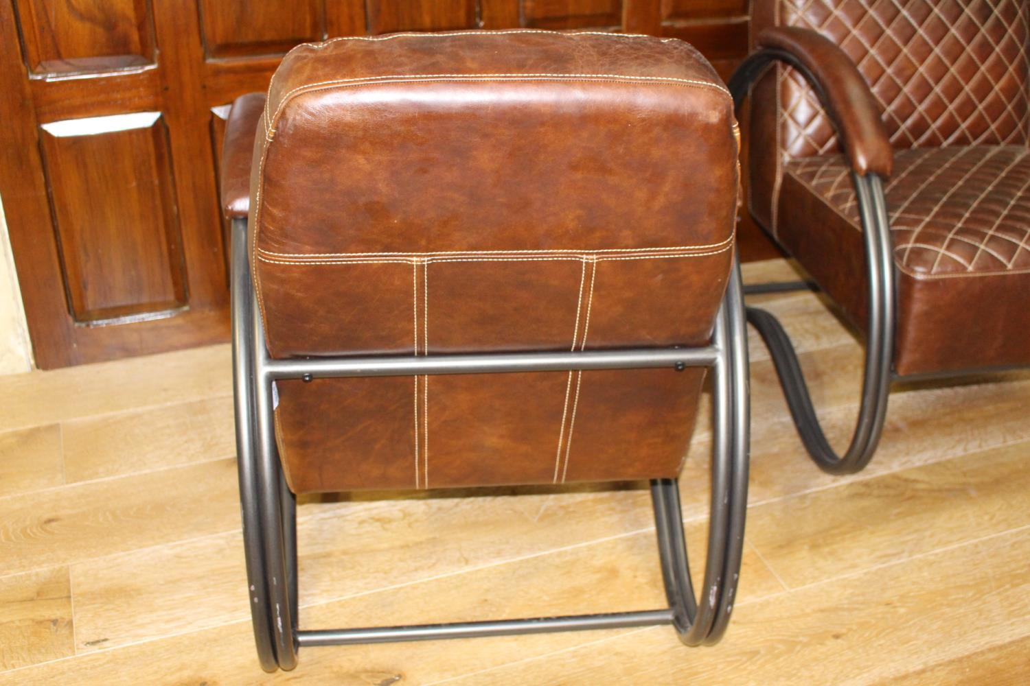 Pair of leather upholstered metal armchairs - Image 3 of 3