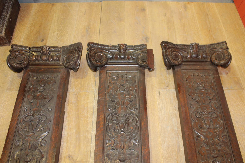 Three 19th C. carved oak flat columns - Image 4 of 6