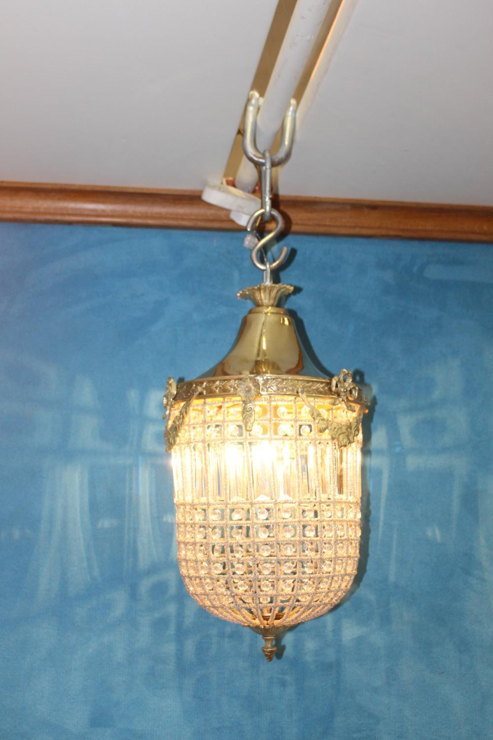 Brass and cut glass hanging ceiling light