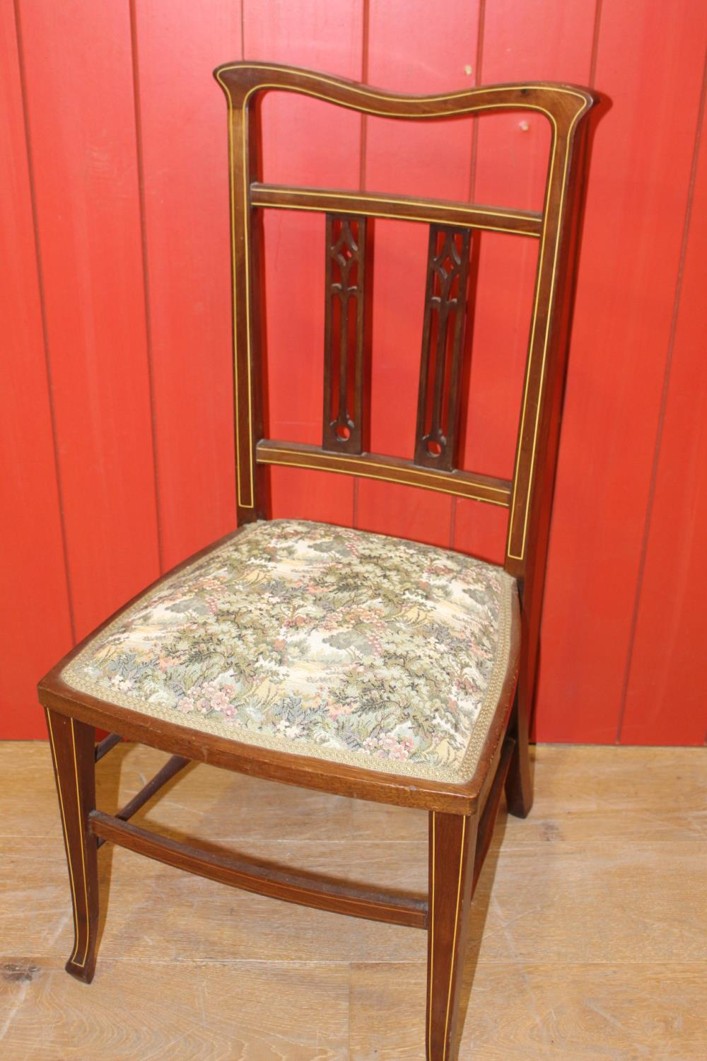 Early 20th C. inlaid oak side chair