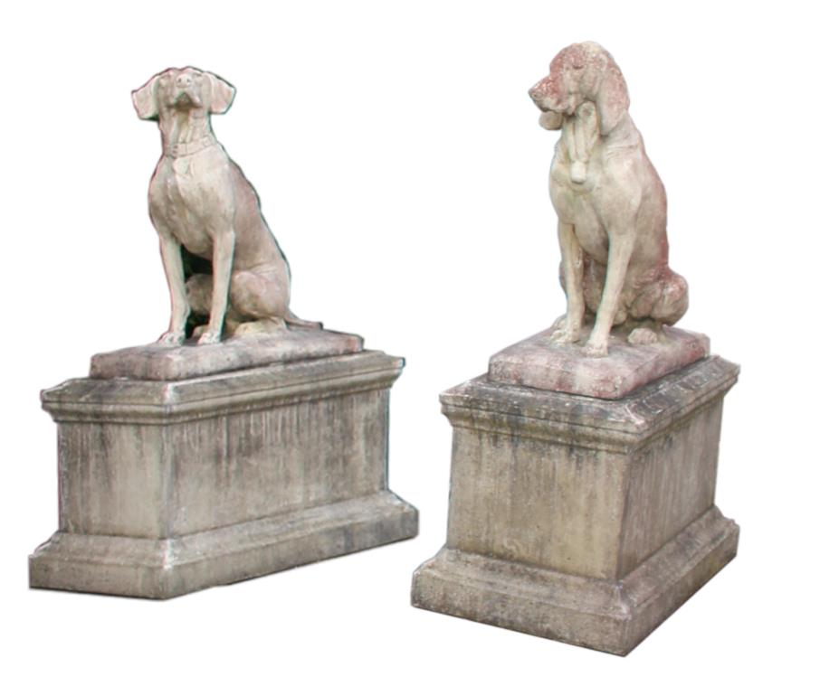 Pair of stone models on seated hounds