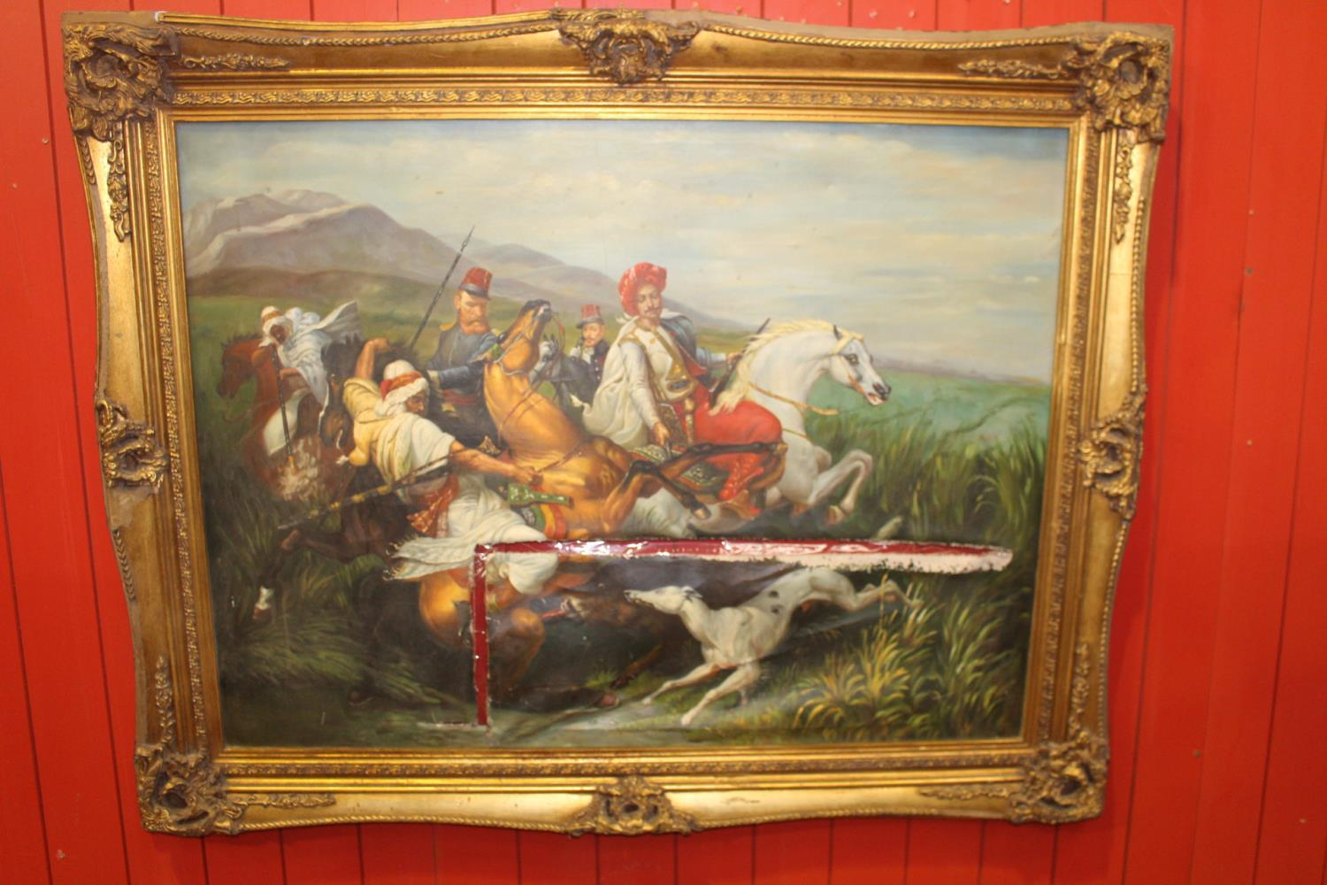 Oil on Canvas - Hunting Scene.
