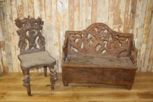Black Forest chair and bench