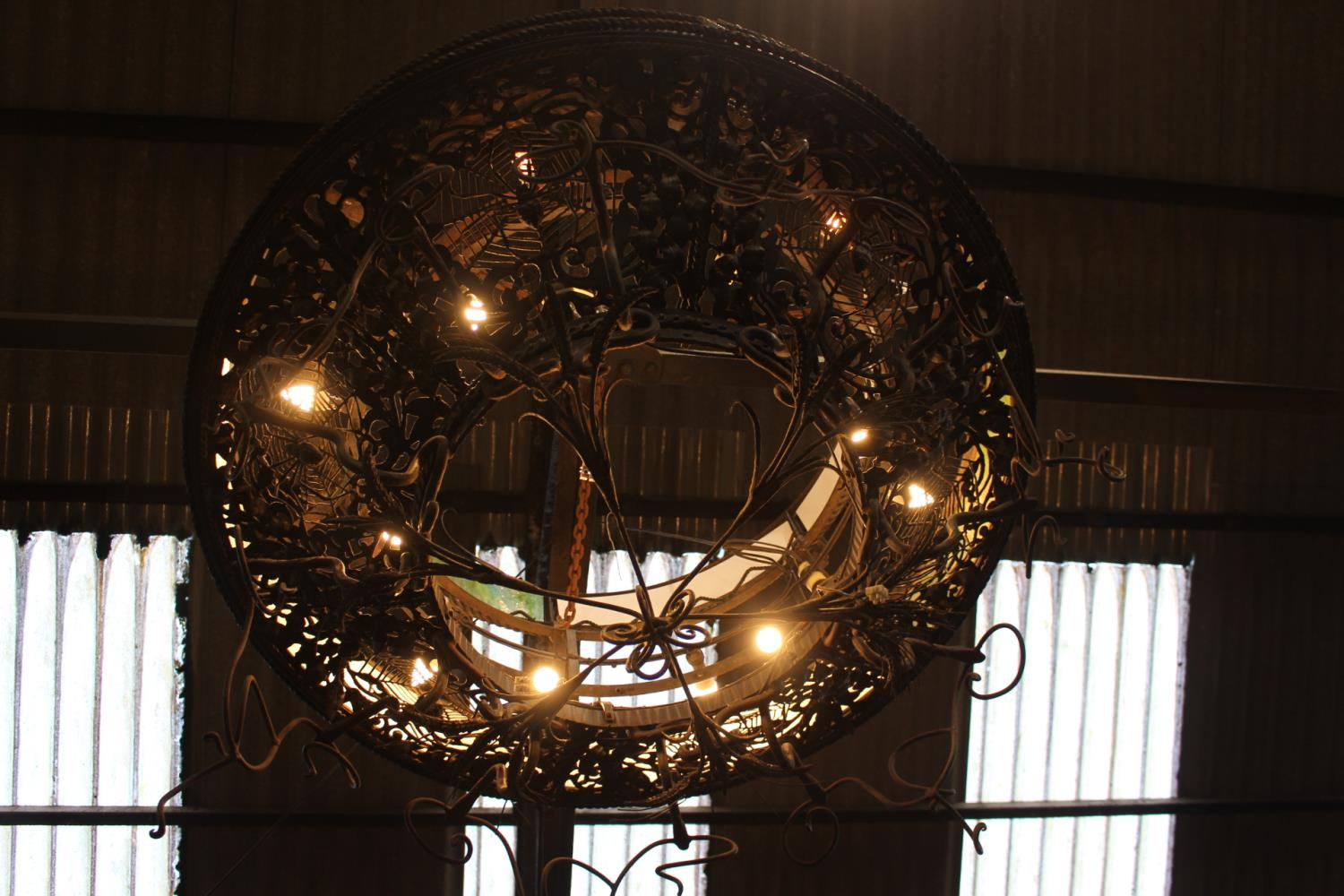 Wrought iron two tier ceiling light - Image 3 of 3