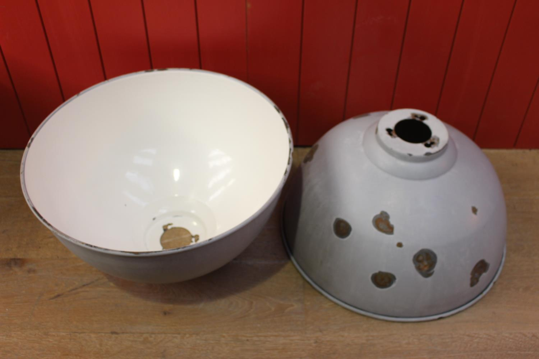 Pair of enamel Industrial style lamp shades