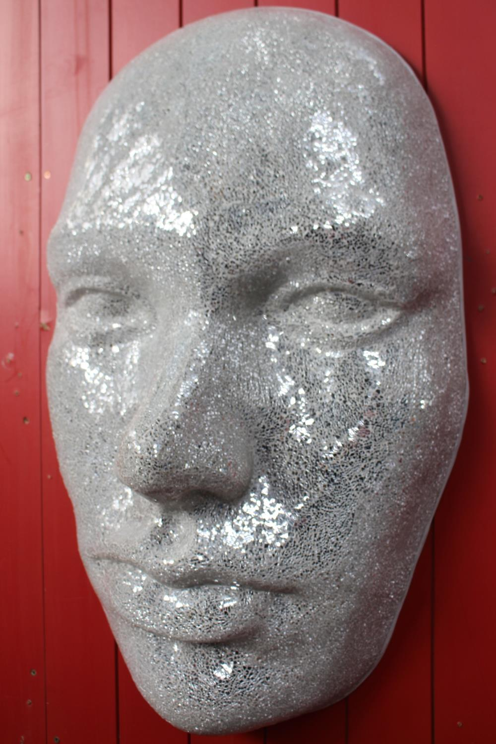 Silvered glass mosaic hanging face mask