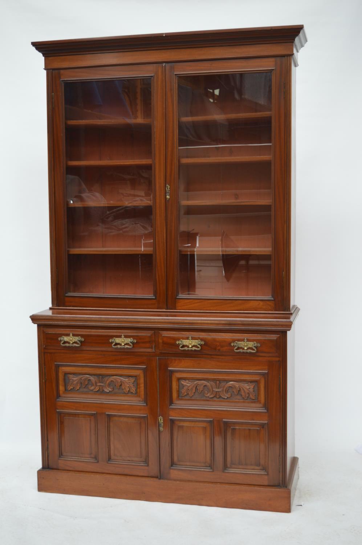 Edwardian mahogany two door bookcase.