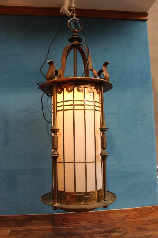 Decorative brass hanging light.