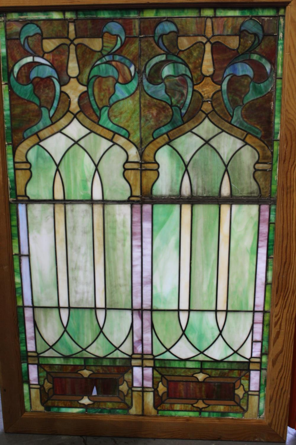 Leaded stain glass window - Image 2 of 2