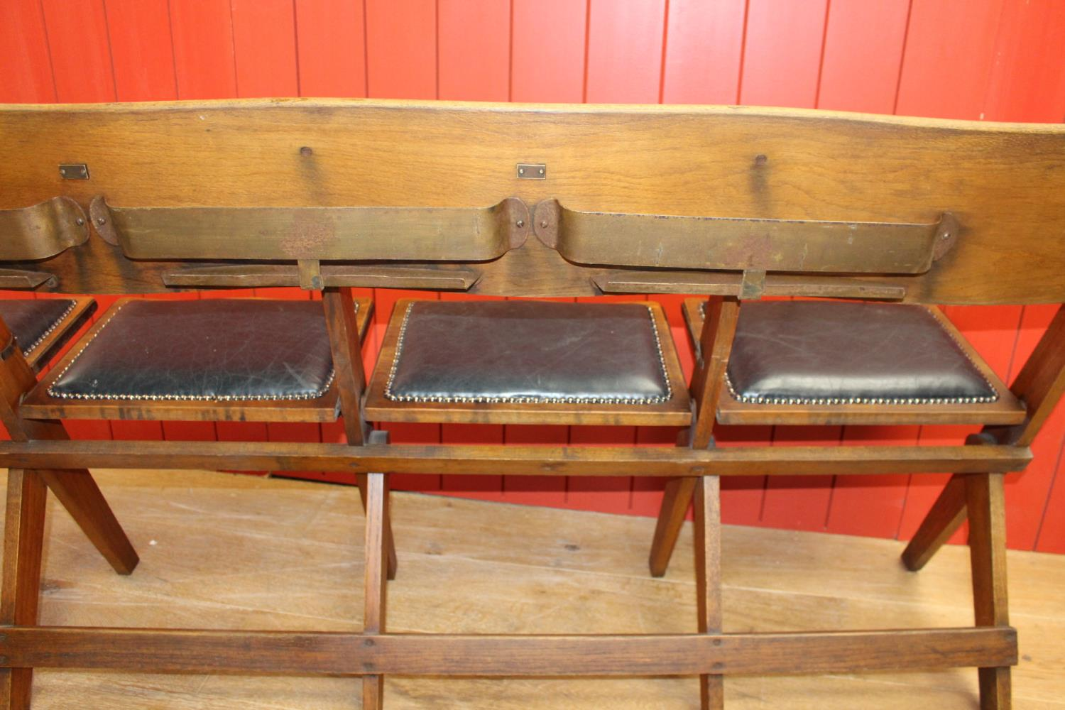 Set of five fold up church seats - Image 2 of 3