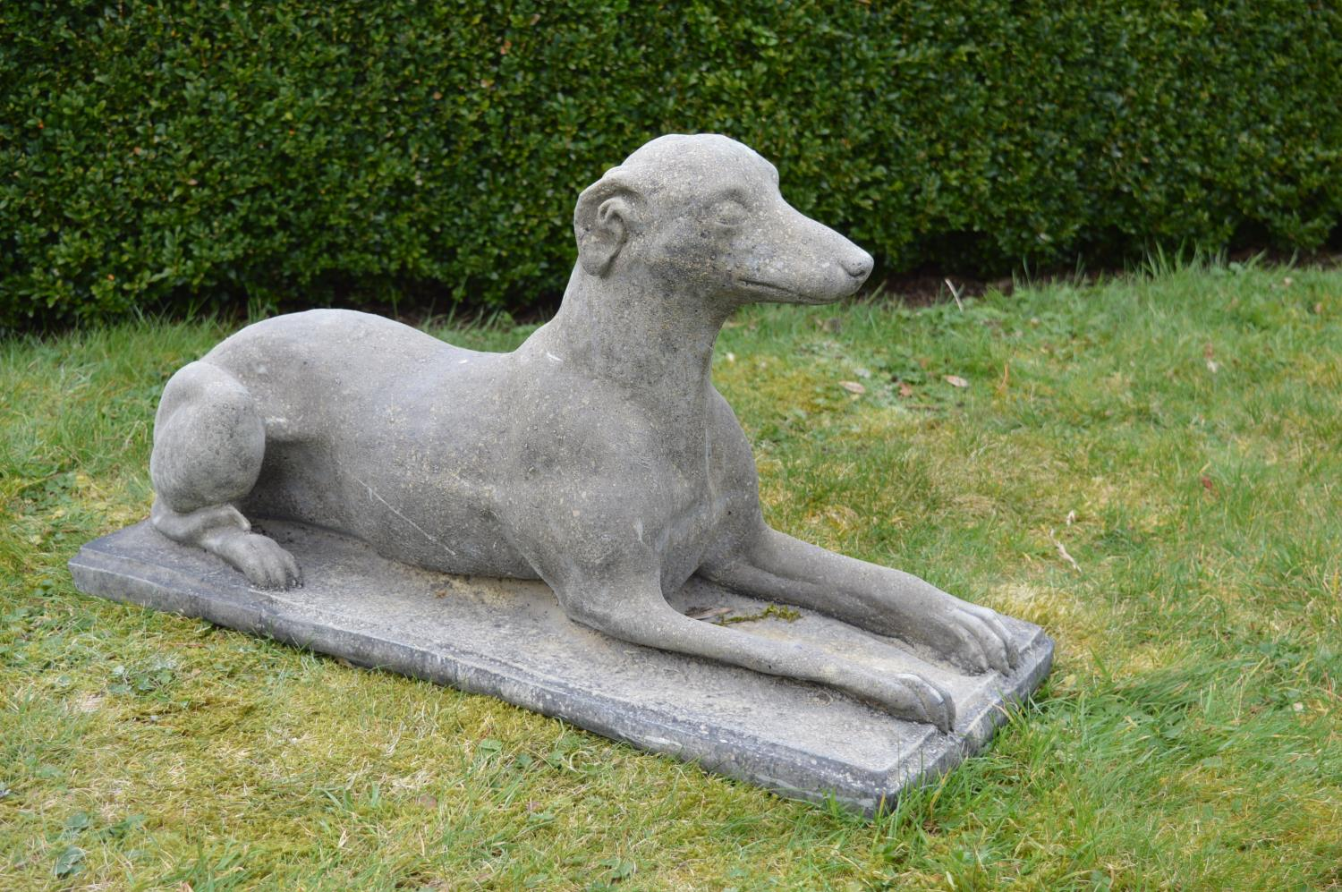 Pair of stone seated grey hounds. - Image 2 of 3
