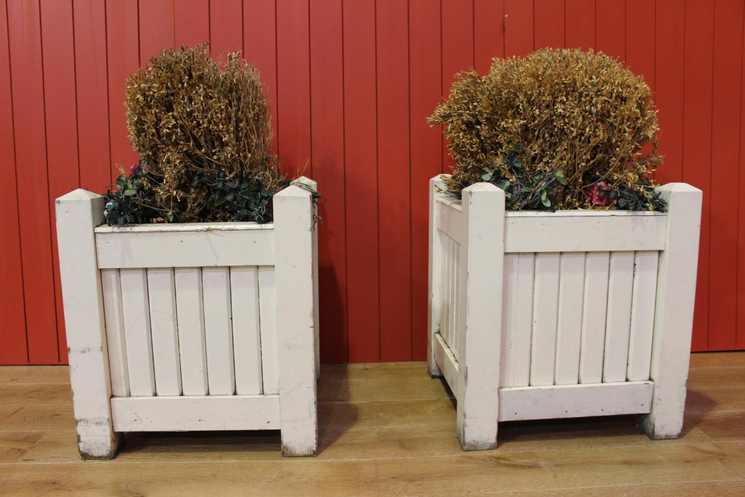 Pair of white wooden planters