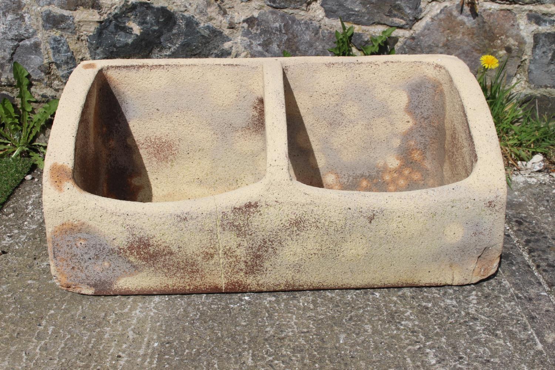 Composition stone double planter