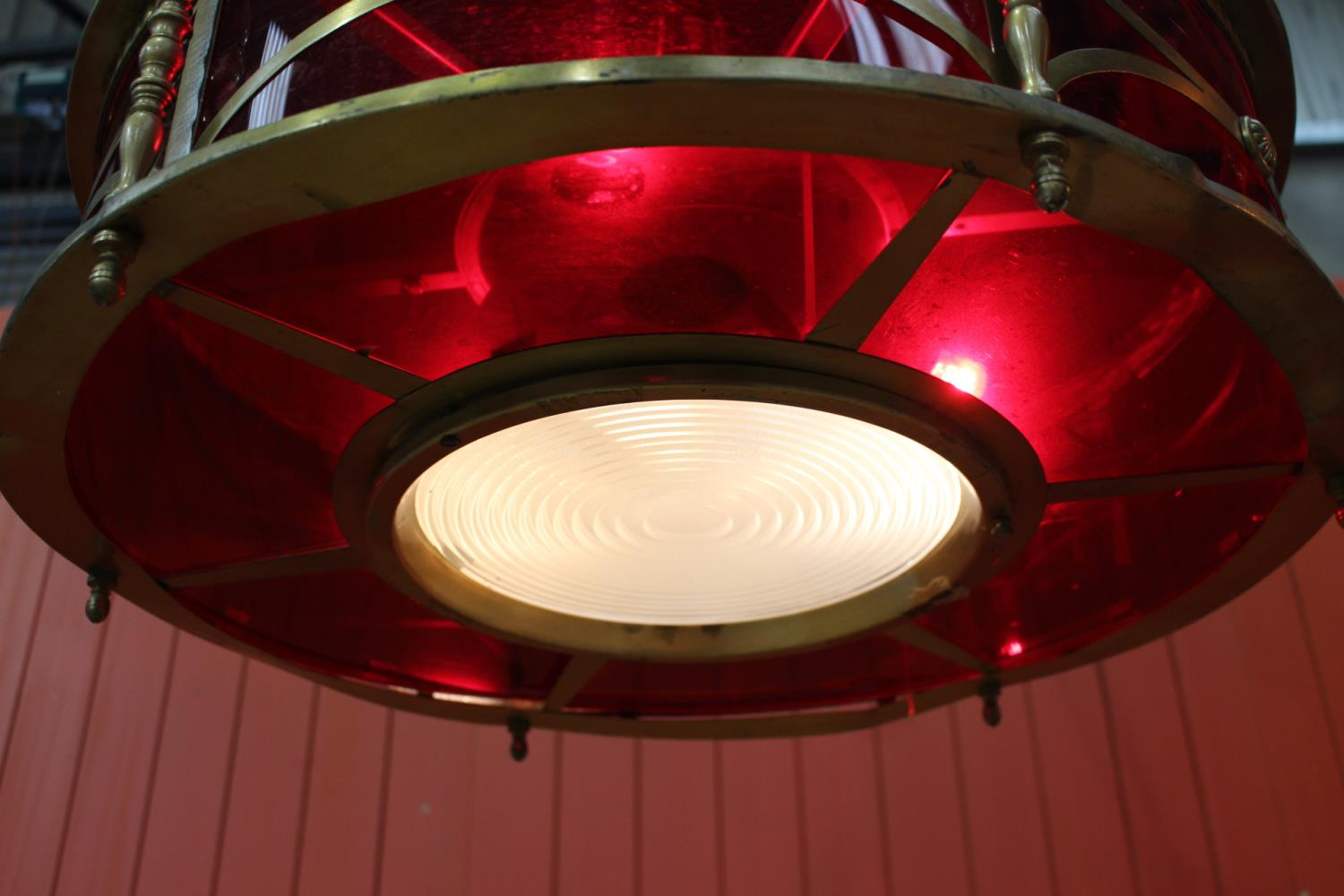 Circular brass and ruby glass hanging light - Image 2 of 2
