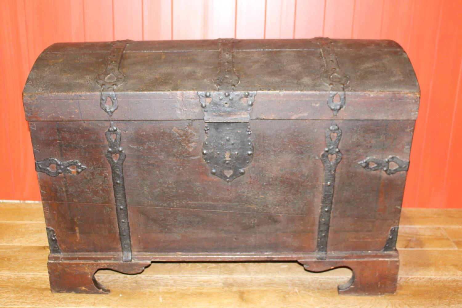 Ship's trunk with metal straps
