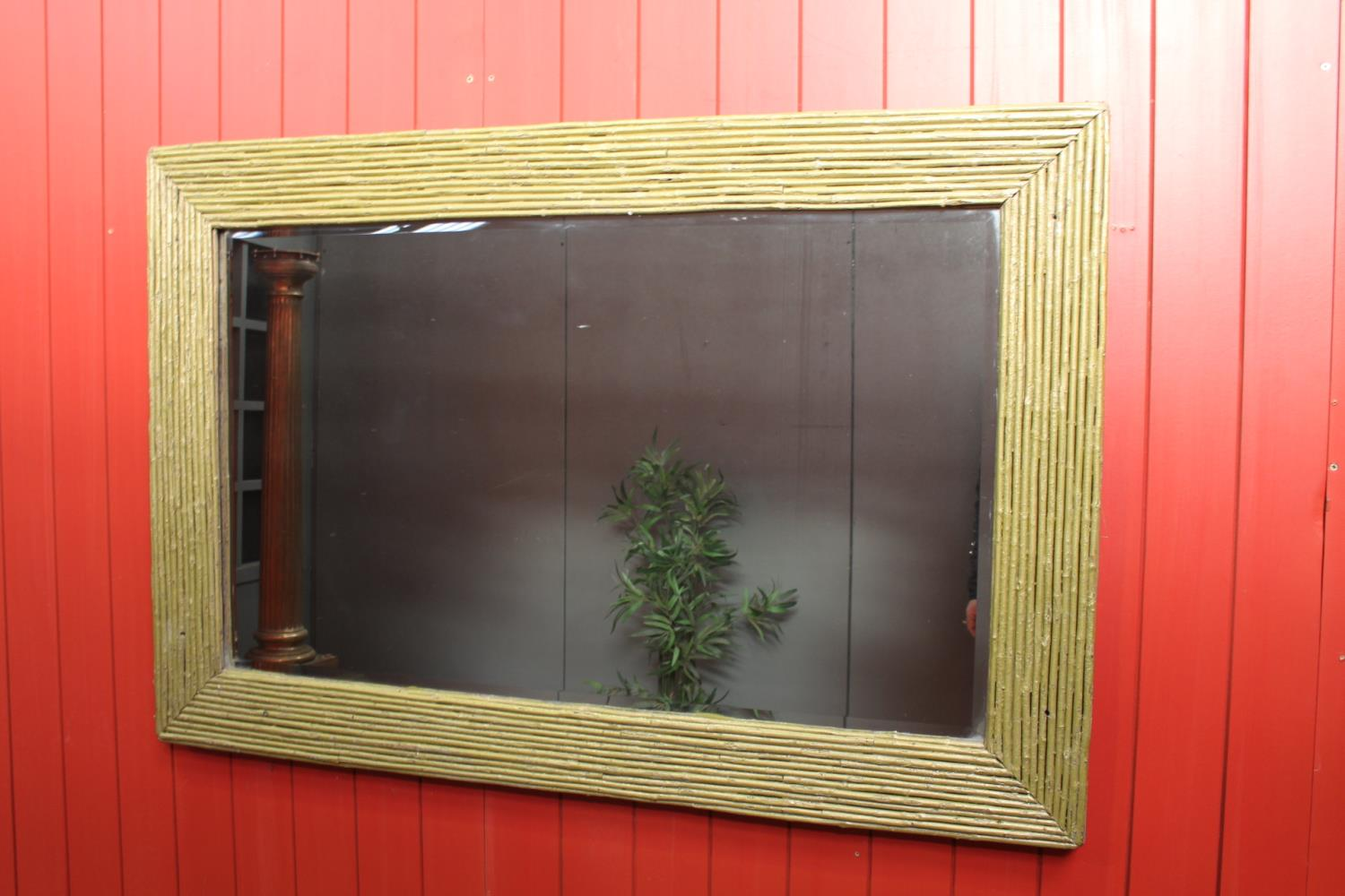 Gilded bamboo style wall mirror