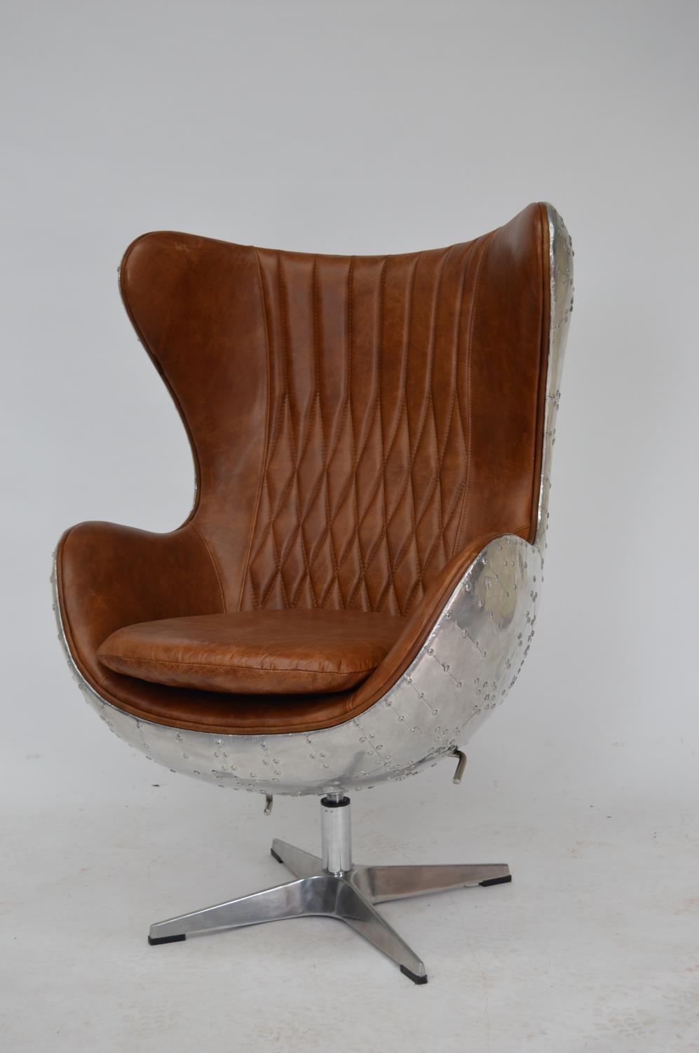 Chrome and leather swivel office chair.