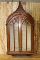 19th C. pitch pine wall mounted statue cupboard