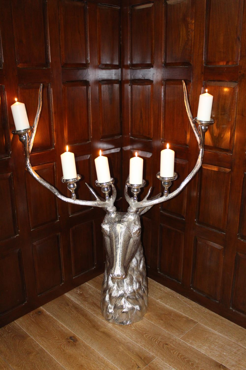 White metal six branch candle holder - Image 2 of 2