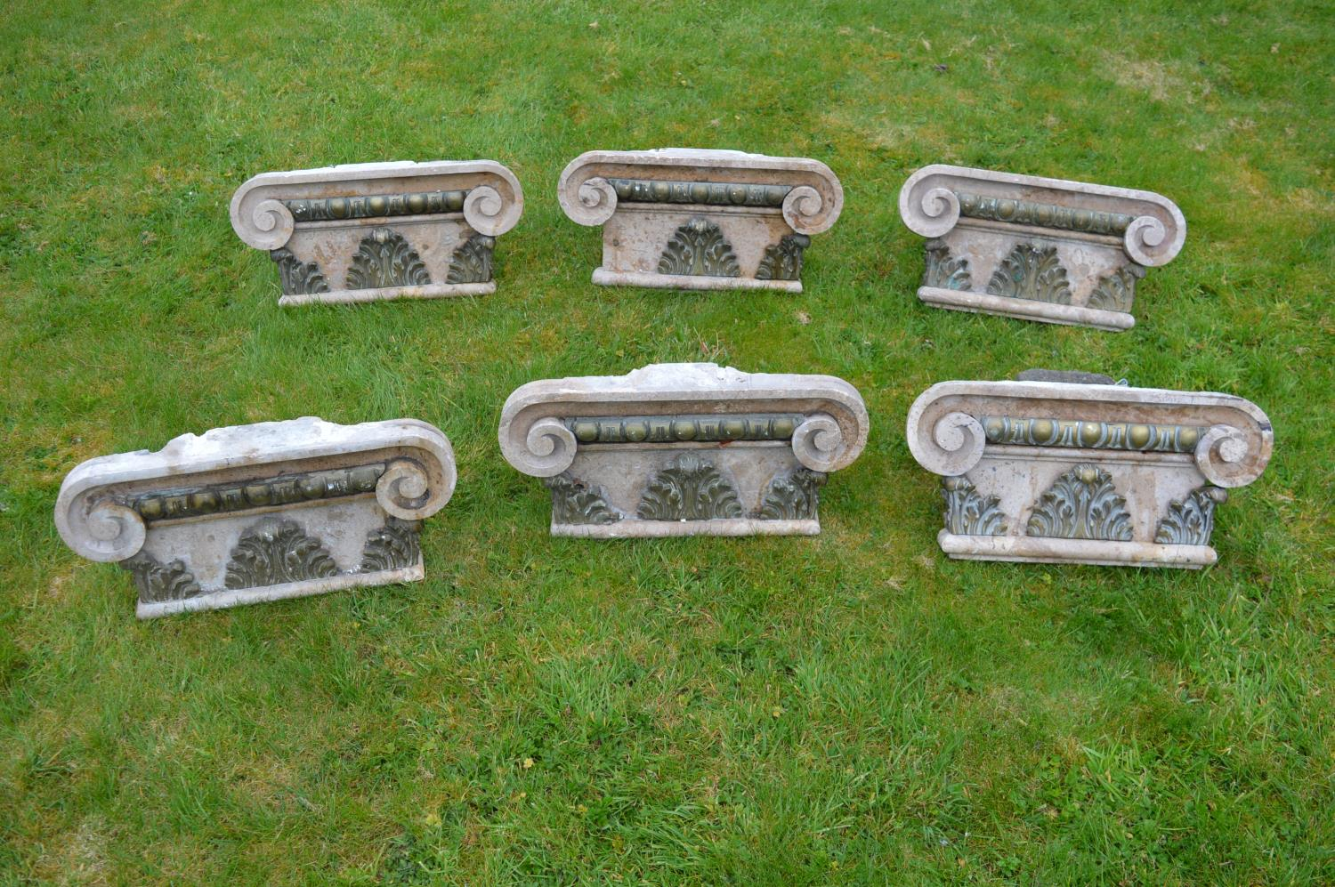 Set of six marble Corinthian capitals.