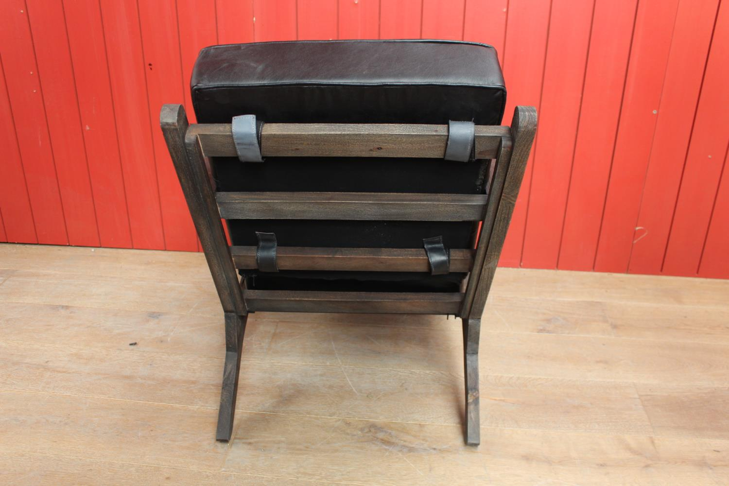 Pair of wooden and leather upholstered easy chairs - Image 2 of 2