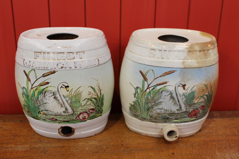 Set of two 19th C. ceramic dispensers