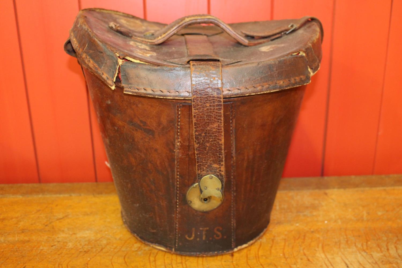 19th C. leather hat box