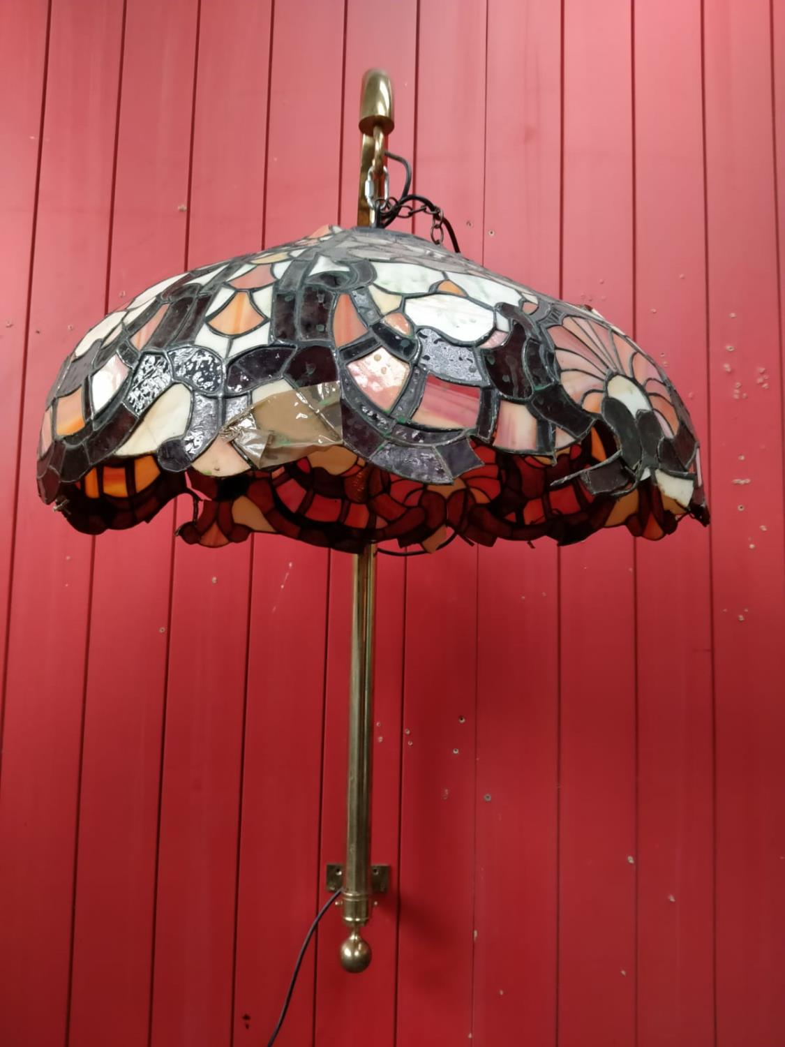 Two leaded glass hanging lights. - Image 2 of 3