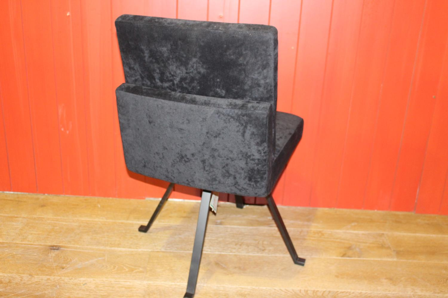 Black velvet upholstered swivel chair - Image 2 of 2