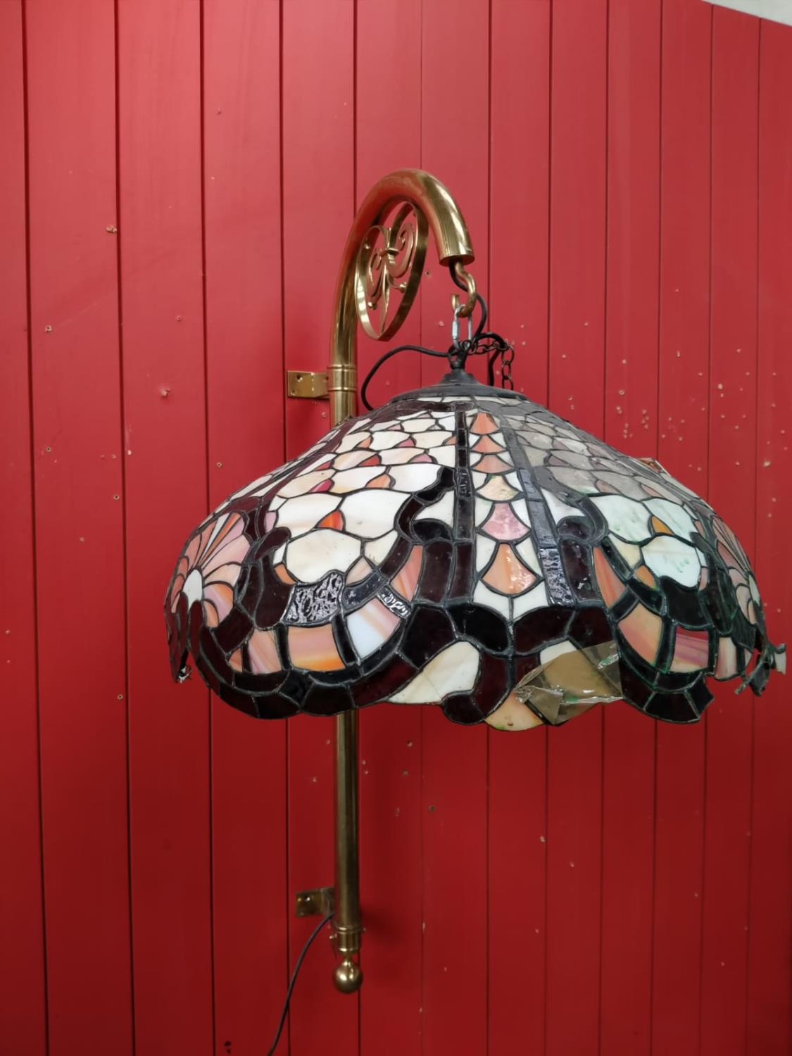 Two leaded glass hanging lights. - Image 3 of 3