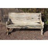 Cast iron roll top garden bench